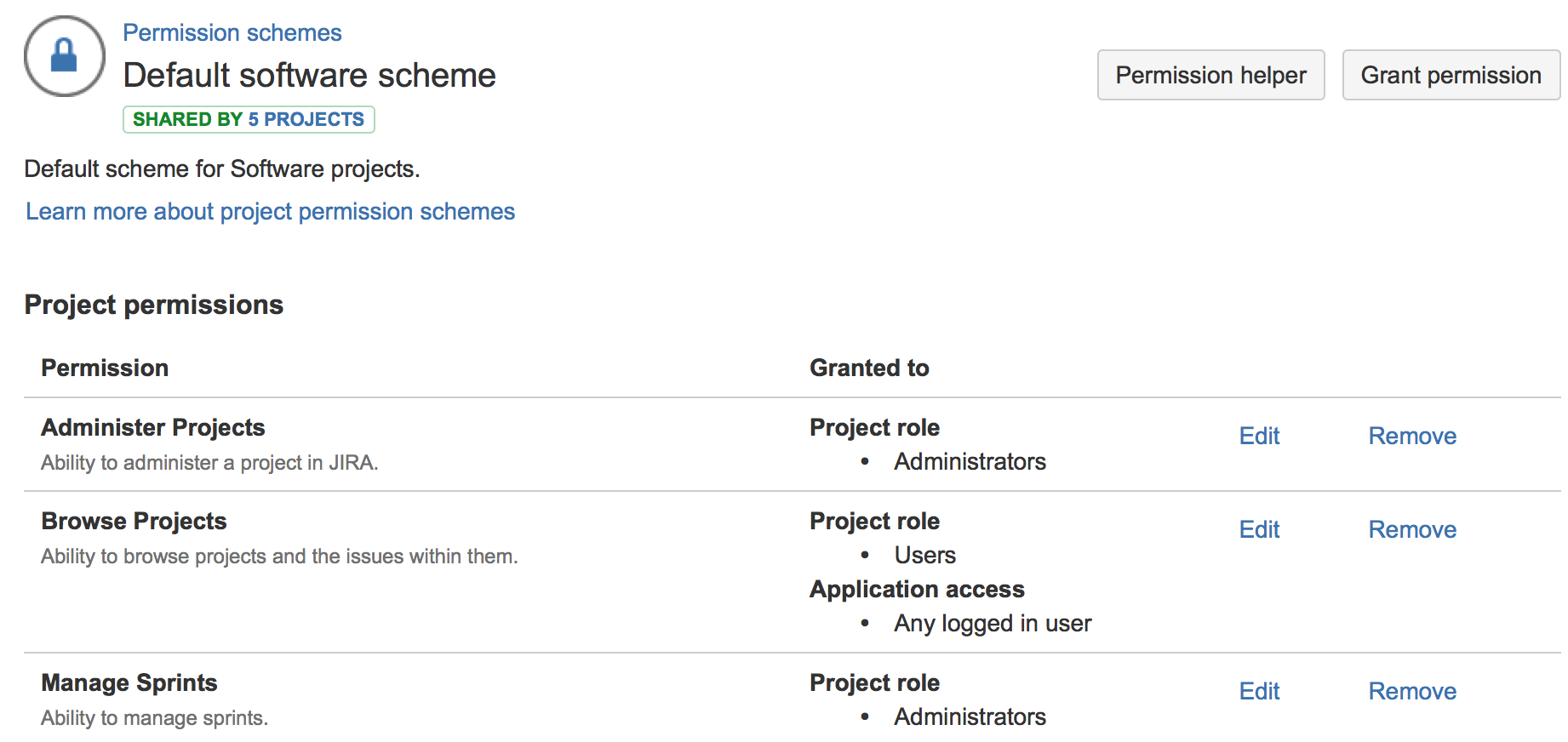 JIRA Default software scheme