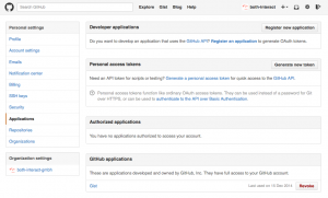 Generate OAuth tokens in GitHub