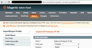 Magento data flow profile URL