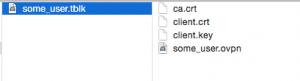 OpenVPN client configuration .tblk Tunnelblick